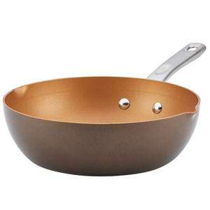 Home Collection Brown Sugar 9.75 In. Porcelain Enamel Nonstick Chef Pan with Pour Spouts