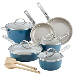 Home Collection Twilight Teal Porcelain Enamel Nonstick 12-Piece Cookware Set