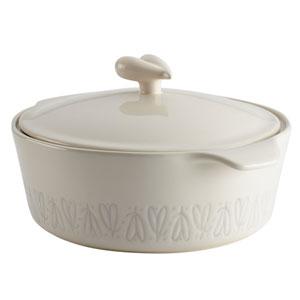 Home Collection French Vanilla 2.5-Quart Stoneware Round Casserole