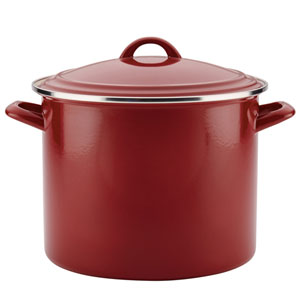 Home Collection Sienna Red 12-Quart Enamel on Steel Stockpot
