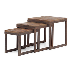 Civic Center Distressed Natural Fir Wood Nesting Table