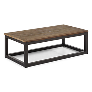 Civic Center Distressed Natural Fir Wood Long Coffee Table