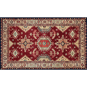Washable Indoor/Outdoor Stain Resistant Ruby Rectangular: 3 Ft. x 5 Ft. Rug Set