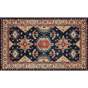 Washable Indoor/Outdoor Stain Resistant Sapphire Rectangular: 3 Ft. x 5 Ft. Rug Set
