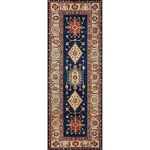 Washable Indoor/Outdoor Stain Resistant Sapphire Runner: 2.5 Ft. x 7 Ft. Rug Set