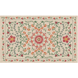 Washable Indoor/Outdoor Stain Resistant Coral Rectangular: 3 Ft. x 5 Ft. Rug Set
