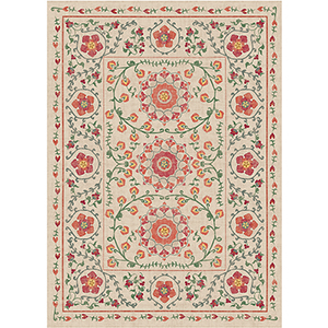 Washable Indoor/Outdoor Stain Resistant Coral Rectangular: 5 Ft. x 7 Ft. Rug Set