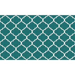 Washable Indoor/Outdoor Stain Resistant Teal Rectangular: 3 Ft. x 5 Ft. Rug Set
