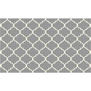 Washable Indoor/Outdoor Stain Resistant Grey Rectangular: 3 Ft. x 5 Ft. Rug Set
