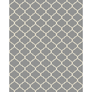Washable Indoor/Outdoor Stain Resistant Grey Rectangular: 8 Ft. x 10 Ft. Rug Set