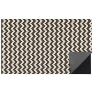 2-pc Washable Rug System: 5 Ft x 7 Ft Black/White Chevron