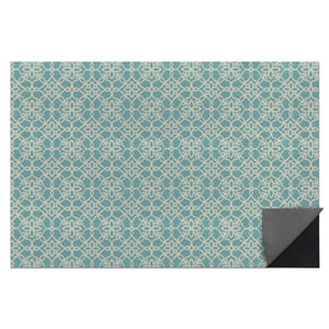 2-pc Washable Rug System: 3 Ft x 5 Ft Aqua/White Floral Tiles