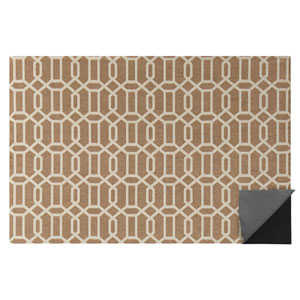 2-pc Washable Rug System: 3 Ft x 5 Ft Tan/White Modern Fretwork