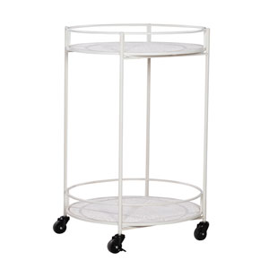 Luca Rustic Wood and Wire Medallion Rolling Cart