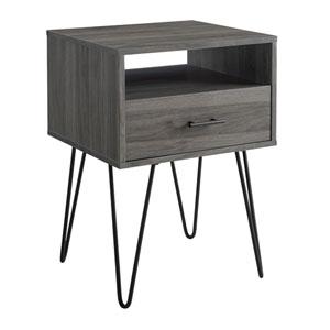 18-Inch Slate Grey Modern Single Drawer Hairpin Leg Side Table