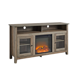 Gray Wash 58-Inch Fireplace Glass Wood TV Stand