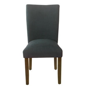 Classic Parsons Navy and Dark Walnut Dining Chair, Set of 2