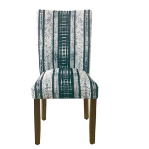 Classic Parsons Indigo and Dark Walnut Striped Dining Chair, Set of 2