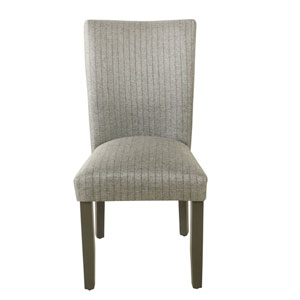 Classic Parsons Gray and Dark Walnut Striped Dining Chair, Set of 2