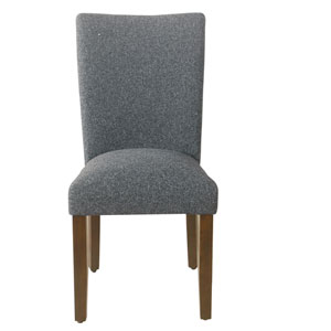 Classic Parsons Heathered Gray and Dark Walnut Dining Chair, Set of 2