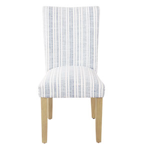 Classic Parsons Blue and Natural Striped Dining Chair, Set of 2