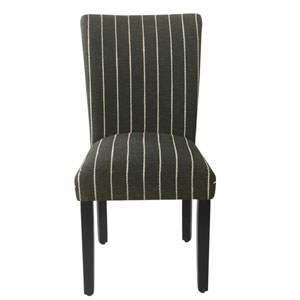 Classic Parsons Black Striped Dining Chair, Set of 2