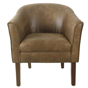 Modern Barrel Dark Walnut Accent Chair