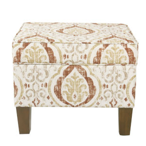 Burnt Orange and Cream 22-Inch Ottoman