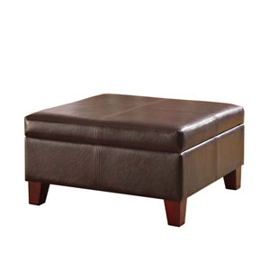 Faux Leather Storage Ottoman, Brown