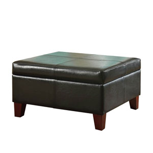 Faux Leather Storage Ottoman, Black