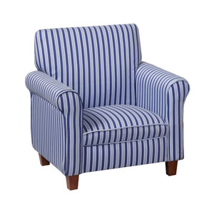 Juvenile Club Chair, Blue and White Stripes