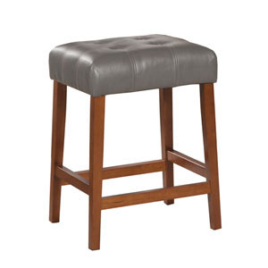 Faux Leather Saddle Counter Stool, Gray