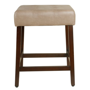 Tufted Faux Leather Counter Stool - Taupe