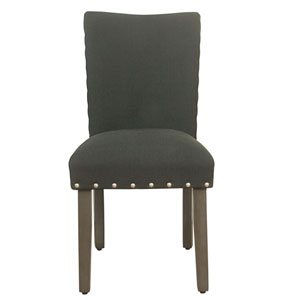 Classic Parsons Chair with Nailhead Trim - Dark Charcoal  (Set of 2)