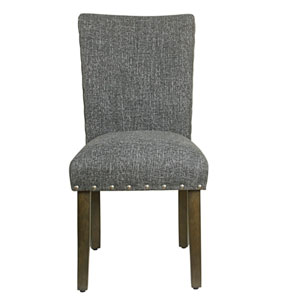 Classic Parsons Chair with Nailhead Trim - Slate Grey (Set of 2)