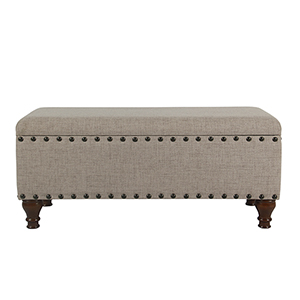 Large Tan Storage Bench with Nailhead Trim
