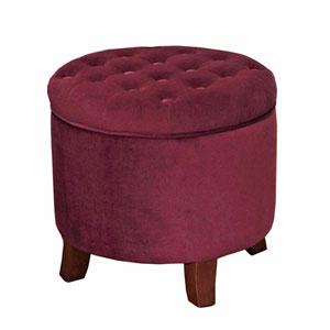 Round Storage Ottoman, Berry Velvet