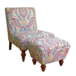 Armless Accent Chair/ Ottoman Set, Paisley Print Fabric