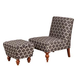 Armless Accent Chair/ Ottoman Set,Gray Fabric