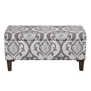 Storage Ottoman, Gray and Light Blue
