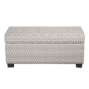 Storage Ottoman, Gray and White