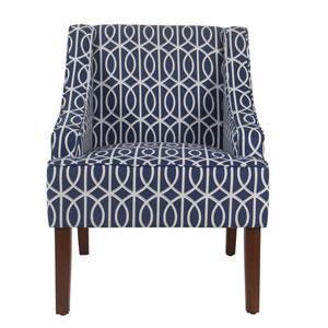 Bella Swoop Accent Chair - Blue Trellis