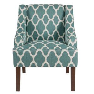 Classic Swoop Arm Chair - Teal Geometric