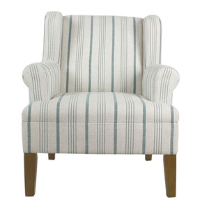 Emmett Rolled Arm Accent Chair - Blue Calypso Stripe