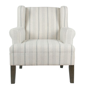Emmett Rolled Arm Accent Chair - Dove Grey Stripe