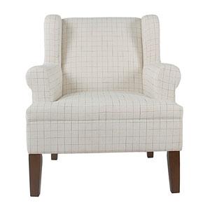 Emmett Rolled Arm Accent Chair - Cream Windowpane