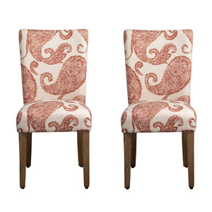 Parsons Chair, Rust Colored Paisley Pattern, Set of Two