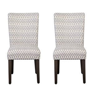 Parsons Chair, Gray and White, Set of Two