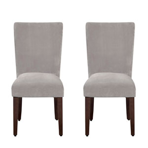 Parsons Chair, Dove Gray Velvet, Set Of Two