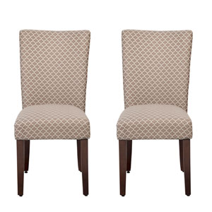 Parsons Chair, Mocha and Cream, Set of Two
